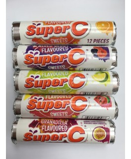 Super C Sweets: Granadilla, Lemon & Lime, Naartjie, Watermelon, Mixed Berry and Orange.